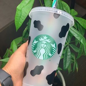 Cow with bow Starbucks cold cup